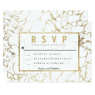 Chic faux gold white modern marble wedding rsvp card