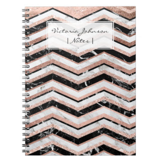 Chic faux rose gold black white marble chevron spiral notebook