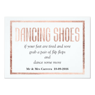Chic Faux Rose Gold Dancing Shoes Sign 13 Cm X 18 Cm Invitation Card