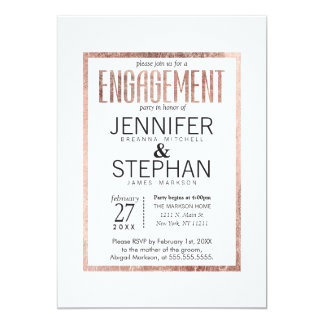 Chic Faux Rose Gold Engagement Party Invitations