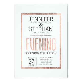 Chic Faux Rose Gold Evening Reception Invitations