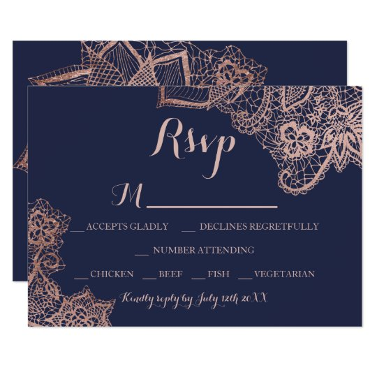 Chic faux rose gold floral lace navy blue