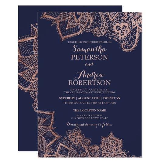 Navy Blue Champagne Floral Wedding Invitation
