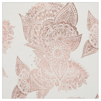Chic faux rose gold floral mandala illustration fabric