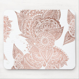 Chic faux rose gold floral mandala illustration mouse pad