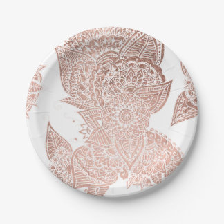 Chic faux rose gold floral mandala illustration paper plate