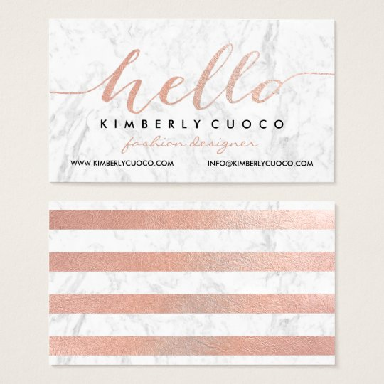 Chic faux rose gold foil hello glam marble