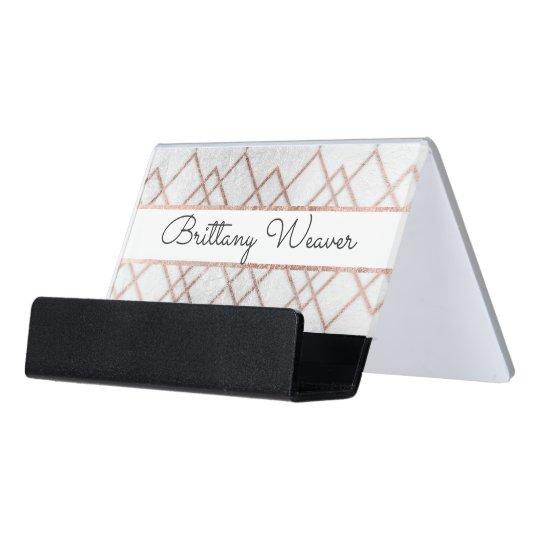 Chic Faux Rose Gold Geometric Triangles Monogram Desk