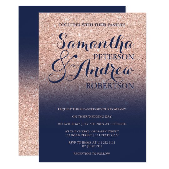 Chic faux rose gold glitter navy blue wedding