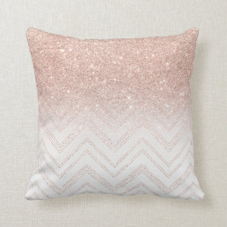 Chic faux rose gold glitter ombre modern chevron cushion
