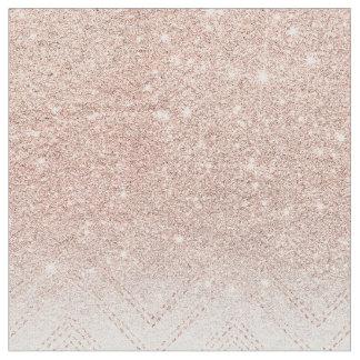 Chic faux rose gold glitter ombre modern chevron fabric