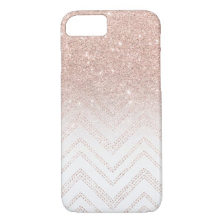 Chic faux rose gold glitter ombre modern chevron iPhone 8/7 case