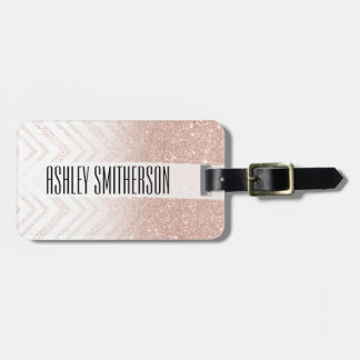 Chic faux rose gold glitter ombre modern chevron luggage tag