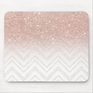 Chic faux rose gold glitter ombre modern chevron mouse mat