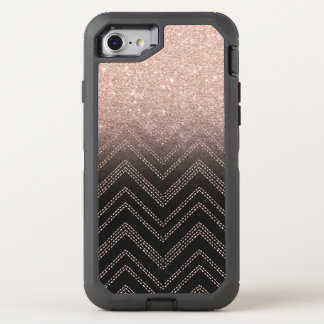 Chic faux rose gold glitter ombre modern chevron OtterBox defender iPhone 8/7 case