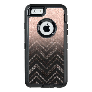Chic faux rose gold glitter ombre modern chevron OtterBox defender iPhone case