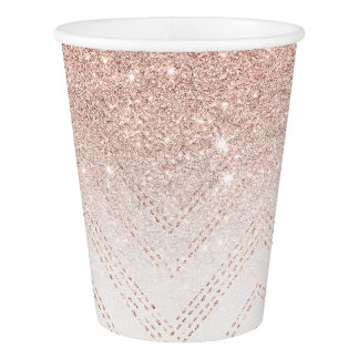 Chic faux rose gold glitter ombre modern chevron paper cup