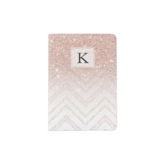 Chic faux rose gold glitter ombre modern chevron passport holder