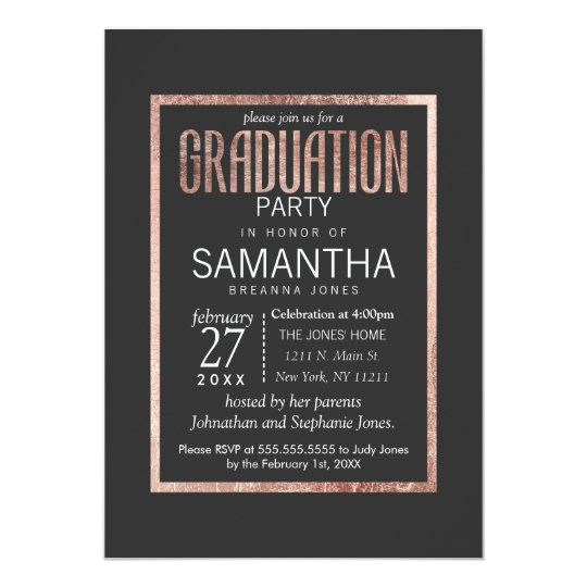 Chic Faux Rose Gold Graduation Party Invitations