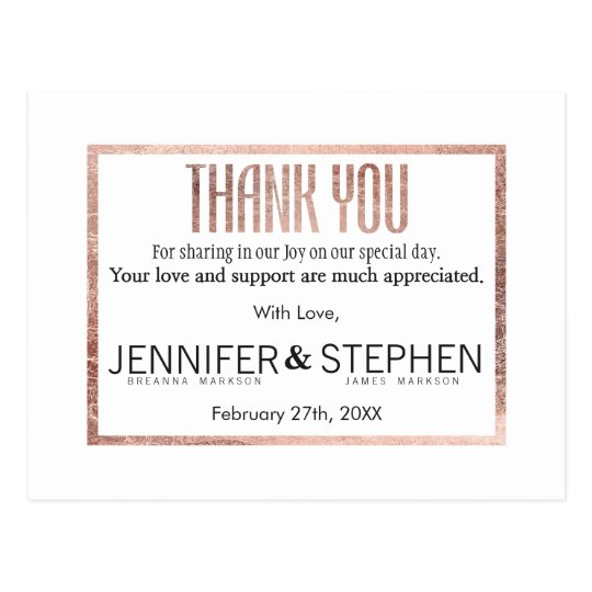Chic Faux Rose Gold Thank You Postcards