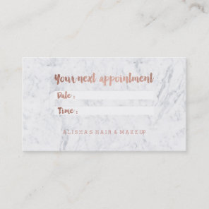 Chic faux rose gold typography marble appointment