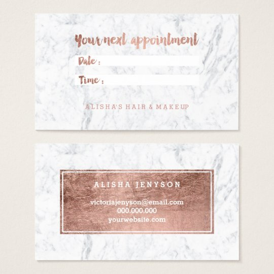 Chic faux rose gold typography marble appointment business