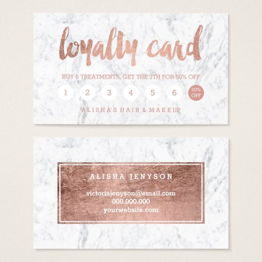 Chic faux rose gold typography marble loyalty card