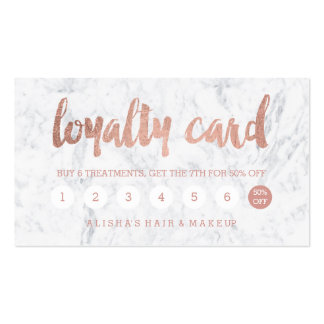 Chic faux rose gold typography marble loyalty card pack of standard business cards