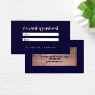 Chic faux rose gold typography navy appointment business card