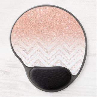 Chic faux salmon gold glitter ombre modern chevron gel mouse mat