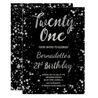 Chic faux silver confetti splatters 21st Birthday Card