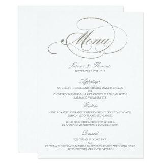 Chic Faux Silver Foil Wedding Menu Template Card