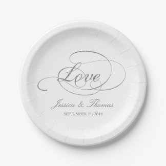 Chic Faux Silver Foil Wedding Reception Template Paper Plate