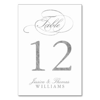 Chic Faux Silver Foil Wedding Table Number Cards