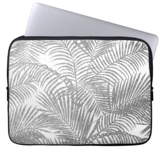 Chic faux silver glitter tropical plants pattern computer sleeve