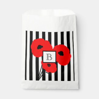 CHIC FAVOR BAG_01 RED POPPIES ON STRIPES FAVOUR BAGS