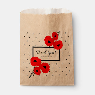"CHIC FAVOR BAG_MOD ""THANK YOU"" 01 RED POPPIES FAVOUR BAGS"