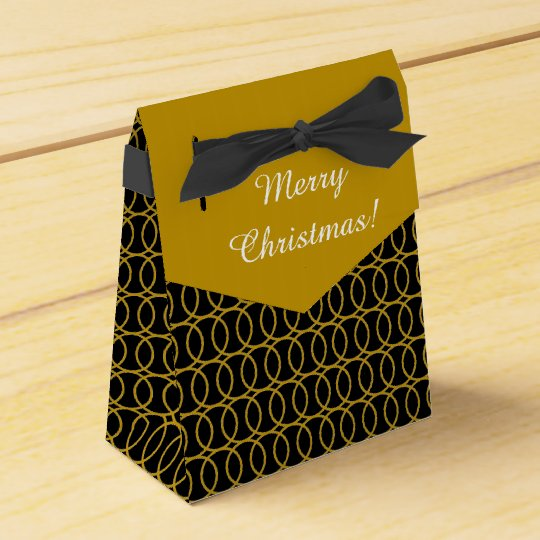 """CHIC FAVOR/GIFT BOX_""""Merry Christmas"""" GOLD CIRCLES"""