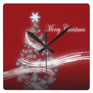 chic festive xmas evergreen Christmas Tree Square Wall Clock