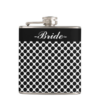 "CHIC FLASK_""Bride"" BLACK DOTS ON WHITE Hip Flask"