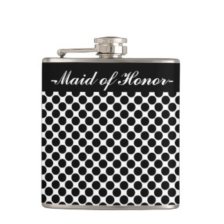 "CHIC FLASK_""Maid of Honor"" BLACK DOTS ON WHITE Hip Flask"