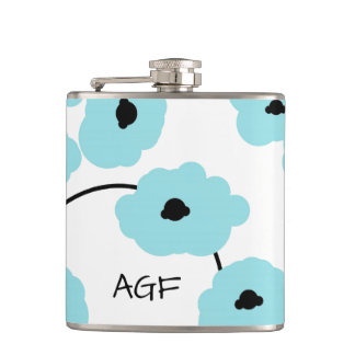 CHIC FLASK_MOD, BOLD AQUA & BLACK POPPIES FLASKS