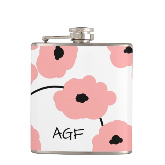 CHIC FLASK_MOD, BOLD BLUSH PINK AND BLACK POPPIES