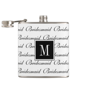 "CHIC FLASK_MODERN WHITE/BLACK ""Bridesmaid"" Hip Flask"