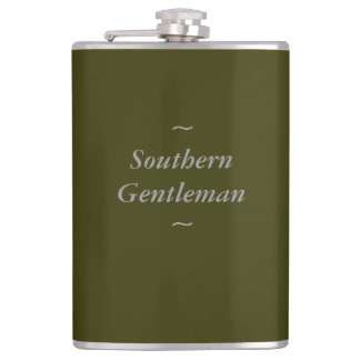 """CHIC FLASK_""""Southern Gentleman"""" GRAY ON OLIVE Hip Flask"""
