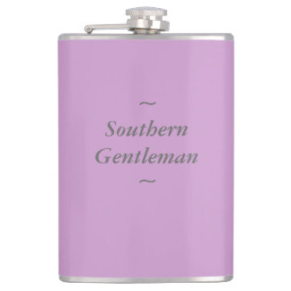 """CHIC FLASK_""""Southern Gentleman"""" GRAY ON ORCHID Flask"""