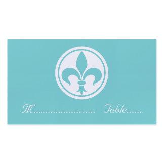 Chic Fleur De Lis Place Card, Aqua Business Card Template