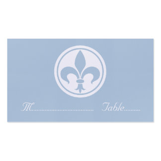 Chic Fleur De Lis Place Card, Blue Double-Sided Standard Business Cards (Pack Of 100)