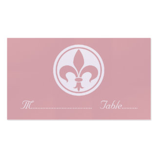 Chic Fleur De Lis Place Card, Pink Double-Sided Standard Business Cards (Pack Of 100)