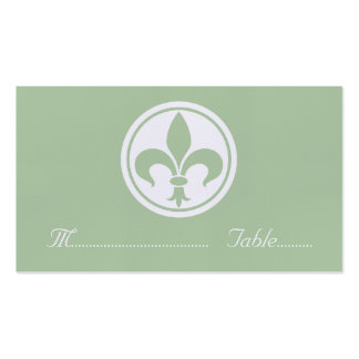 Chic Fleur De Lis Place Card, Sage Double-Sided Standard Business Cards (Pack Of 100)
